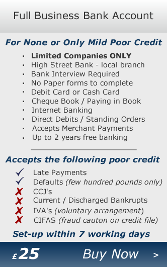 Business Bank Account - Business Bank Account for mild poor credit